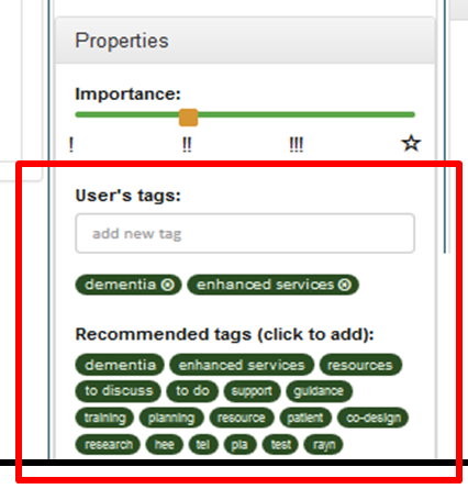 Tag recommendations in Bits and Pieces.